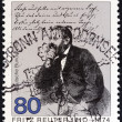 GERMANY - CIRCA 1985: A stamp printed in Germany issued for the 175th death anniversary of Fritz Reuter shows writer Fritz Reuter, circa 1985. — Stock Photo