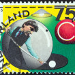 Stock Photo: NETHERLANDS - CIRC1986: stamp printed in Netherlands issued for 75th Royal Dutch Billiards Association, Checkers Association shows Player in ball preparing to play, circ1986.