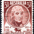 "Stock Photo: AUSTRALI- CIRC1953: stamp printed in Australifrom ""150th anniversary of settlement in Tasmania"" issue shows Lieutenant-Governor David Collins, circ1953."