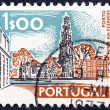 "PORTUGAL - CIRCA 1972: A stamp printed in Portugal from the ""Cities and landscapes"" issue shows Clerigos Tower, Porto, circa 1972. - Stock Photo"