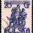 "POLAND - CIRC1955: stamp printed in Poland from ""Warsaw Monuments"" issue shows Brotherhood in Arms, circ1955. — Stockfoto #25602591"