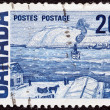 "CANADA - CIRCA 1967: A stamp printed in Canada from the ""Centennial"" issue shows ""Quebec Ferry"" painting by James Wilson Morrice, circa 1967. — Stock Photo"