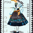 "SPAIN - CIRCA 1968: A stamp printed in Spain from the ""Provincial Costumes"" issue shows a woman from Coruna, circa 1968. — Stock Photo"