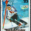 "PARAGUAY - CIRC1979: stamp printed in Paraguay from ""Winter Olympics, Lake Placid 1980"" issue shows Paul Frommelt, Liechtenstein, slalom, circ1979. — Stock Photo #25603123"