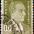 Stock Photo: TURKEY - CIRCA 1931: A stamp printed in Turkey shows a portrait of Kemal Ataturk, circa 1931.