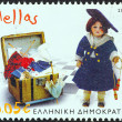 "GREECE - CIRC2006: stamp printed in Greece from ""Children's Toys. Benaki Museum"" issue shows Fashion Doll (1905), circ2006. — Stock Photo #25605249"