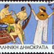 "GREECE - CIRCA 1995: A stamp printed in Greece from the ""Jason and the Argonauts"" issue shows Jason, the Argonauts and goddess Athena, circa 1995. — Stock Photo"