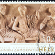 "Stock Photo: GREECE - CIRC2006: stamp printed in Greece from ""Greek Museums"" issue shows gods Poseidon, Apollo and Artemis, East Parthenon Pediment (Acropolis Museum), circ2006."