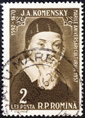 "ROMANIA - CIRCA 1957: A stamp printed in Romania from the ""Cultural Anniversaries"" issue shows John Amos Comenius (educationist, 300th death anniversary), circa 1957. — Stock Photo"