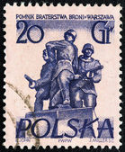"POLAND - CIRCA 1955: A stamp printed in Poland from the ""Warsaw Monuments"" issue shows Brotherhood in Arms, circa 1955. — Stock Photo"
