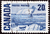 """CANADA - CIRCA 1967: A stamp printed in Canada from the """"Centennial"""" issue shows """"Quebec Ferry"""" painting by James Wilson Morrice, circa 1967. — Stock Photo"""