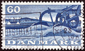 """DENMARK - CIRCA 1960: A stamp printed in Denmark from the """"1st Danish Food Fair"""" issue shows a plough, circa 1960. — Stock Photo"""