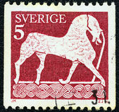 "SWEDEN - CIRCA 1973: A stamp printed in Sweden from the ""Gotland Picture Stones"" issue shows Horse (bas relief), circa 1973. — Stock Photo"
