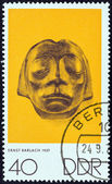 "GERMAN DEMOCRATIC REPUBLIC - CIRCA 1970: A stamp printed in Germany from the ""The Art of Nagel, Kollwitz and Barlach"" issue shows Sculptured head from Gustrow Cenotaph (Ernst Barlach), circa 1970. — Stock Photo"