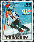 "PARAGUAY - CIRCA 1979: A stamp printed in Paraguay from the ""Winter Olympics, Lake Placid 1980"" issue shows Paul Frommelt, Liechtenstein, slalom, circa 1979. — Stock Photo"