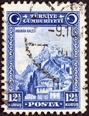 TURKEY - CIRCA 1929: A stamp printed in Turkey shows Fortress of Ankara, circa 1929. — Stock Photo