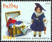 "GREECE - CIRCA 2006: A stamp printed in Greece from the ""Children's Toys. Benaki Museum"" issue shows Fashion Doll (1905), circa 2006. — Stock Photo"