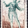 "Stock Photo: FRANCE - CIRC1953: stamp printed in France from ""Literary Figures and National Industries"" issue shows Figaro, barber of Seville (Beaumarchais), circ1953."