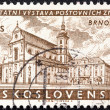 "CZECHOSLOVAKIA - CIRCA 1958: A stamp printed in Czechoslovakia from the ""National Stamp Exhibition, Brno"" issue shows St. Thomas's Church, Red Army Square, circa 1958. — Stock Photo"