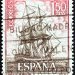 "Stock Photo: SPAIN - CIRC1964: stamp printed in Spain from ""Spanish Navy Commemoration. Ships"" issue shows Corvette Atrevida, circ1964."
