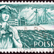 "Stock Photo: POLAND - CIRC1956: stamp printed in Poland from ""Merchant Navy"" issue shows merchant navy officer and Kilinski (freighter), circ1956."