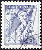 CZECHOSLOVAKIA - CIRCA 1954: A stamp printed in Czechoslovakia shows engine driver, circa 1954. — Foto de Stock