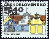 "CZECHOSLOVAKIA - CIRCA 1971: A stamp printed in Czechoslovakia from the ""Regional Buildings"" issue shows a southern Bohemia baroque house, Posumavi, circa 1971. — Stock Photo"