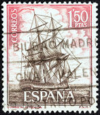 "SPAIN - CIRCA 1964: A stamp printed in Spain from the ""Spanish Navy Commemoration. Ships"" issue shows Corvette Atrevida, circa 1964. — Stock Photo"