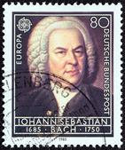 "GERMANY - CIRCA 1985: A stamp printed in Germany from the ""Europa. Composers' 300th Birth Anniversaries"" issue shows Johann Sebastian Bach, circa 1985. — Stock Photo"