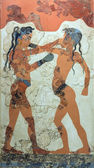 Boxing boys fresco from Akrotiri, Santorini, 1550 BC — Stock Photo