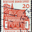 """GERMANY - CIRCA 1964: A stamp printed in Germany from the """"Twelve Centuries of German Architecture"""" issue shows Monastery Gate, Lorsch, circa 1964. — Stock Photo"""