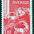 SWEDEN - CIRCA 1977: A stamp printed in Sweden issued for Christmas shows Christmas preparations, circa 1977. — Stock Photo