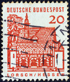 "GERMANY - CIRCA 1964: A stamp printed in Germany from the ""Twelve Centuries of German Architecture"" issue shows Monastery Gate, Lorsch, circa 1964. — Stock Photo"