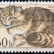 "CZECHOSLOVAKI- CIRC1967: stamp printed in Czechoslovakifrom ""Faunof TatrNational Park"" issue shows Wildcat (Felis silvestris), circ1967. — Stock Photo #26397601"