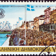 "Stock Photo: GREECE - CIRC1985: stamp printed in Greece from ""2300th anniversary of Thessaloniki city"" issue shows Greek army liberating Thessaloniki, 1912, circ1985."
