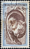 "CZECHOSLOVAKIA - CIRCA 1957: A stamp printed in Czechoslovakia from the ""Tatra National Park"" issue shows a Brown bear (Ursus arctos), circa 1957. — Stock Photo"