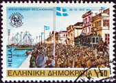 "GREECE - CIRCA 1985: A stamp printed in Greece from the ""2300th anniversary of Thessaloniki city"" issue shows Greek army liberating Thessaloniki, 1912, circa 1985. — Stock Photo"