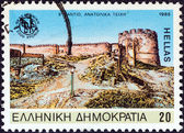 "GREECE - CIRCA 1985: A stamp printed in Greece from the ""2300th anniversary of Thessaloniki city"" issue shows Thessaloniki's eastern walls (Byzantine period), circa 1985. — Stock Photo"