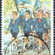 "Stock fotografie: GREECE - CIRC2011: stamp printed in Greece from ""Primary School Reading Books"" issue shows cover of 5th grade reading book, circ2011."