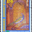 "Stock fotografie: GREECE - CIRC1997: stamp printed in Greece from ""Thessaloniki, Cultural Capital of Europe"" issue shows detail of mosaic from Rotundcupola, circ1997."
