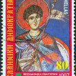 "GREECE - CIRCA 1997: A stamp printed in Greece from the ""Thessaloniki, Cultural Capital of Europe"" issue shows patron Saint Dimitrios (fresco, Agios Nikolaos Orphanos Church), circa 1997. — Stock Photo"