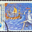 "GREECE - CIRCA 1999: A stamp printed in Greece from the ""International year of the ocean"" issue shows sailing ship, god Poseidon, circa 1999. — Stock Photo"