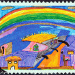 "GREECE - CIRCA 2000: A stamp printed in Greece from the ""The Future in the Eyes of the Children"" issue shows Rainbow (Spyros Dalakos), circa 2000. — Stock Photo #26828309"
