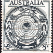 "Stock Photo: AUSTRALI- CIRC1954: stamp printed in Australifrom ""AustraliAntarctic Research"" issue shows territory badge, circ1954."