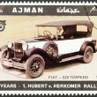 "AJMAN EMIRATE - CIRCA 1970: A stamp printed in United Arab Emirates from the ""65th Anniversary of the Hubert V. Herkomer Rallye"" issue shows Fiat - 520 Torpedo of 1928, circa 1970. - Stock Photo"