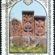 "USSR - CIRCA 1978: A stamp printed in USSR from the ""Armenian Architecture"" issue shows khachkars (carved stones), circa 1978. — Stock Photo"
