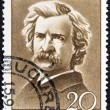 "Stock Photo: ROMANI- CIRC1960: stamp printed in Romanifrom ""Cultural Anniversaries"" issue shows Mark Twain (writer, 50th death anniversary), circ1960."
