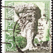"SPAIN - CIRCA 1967: A stamp printed in Spain from the ""Tourist Series and International Tourist Year"" issue shows Enchanted City (Cuenca), circa 1967. — Stock Photo"