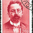 "ROMANIA - CIRCA 1960: A stamp printed in Romania from the ""Cultural Anniversaries"" issue shows Anton Chekhov (writer, birth centenary), circa 1960. — Stock Photo"