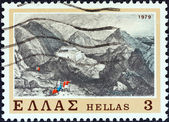 "GREECE - CIRCA 1979: A stamp printed in Greece from the ""The Struggle of the Souliots"" issue shows Souli Castle, circa 1979. — Stock Photo"